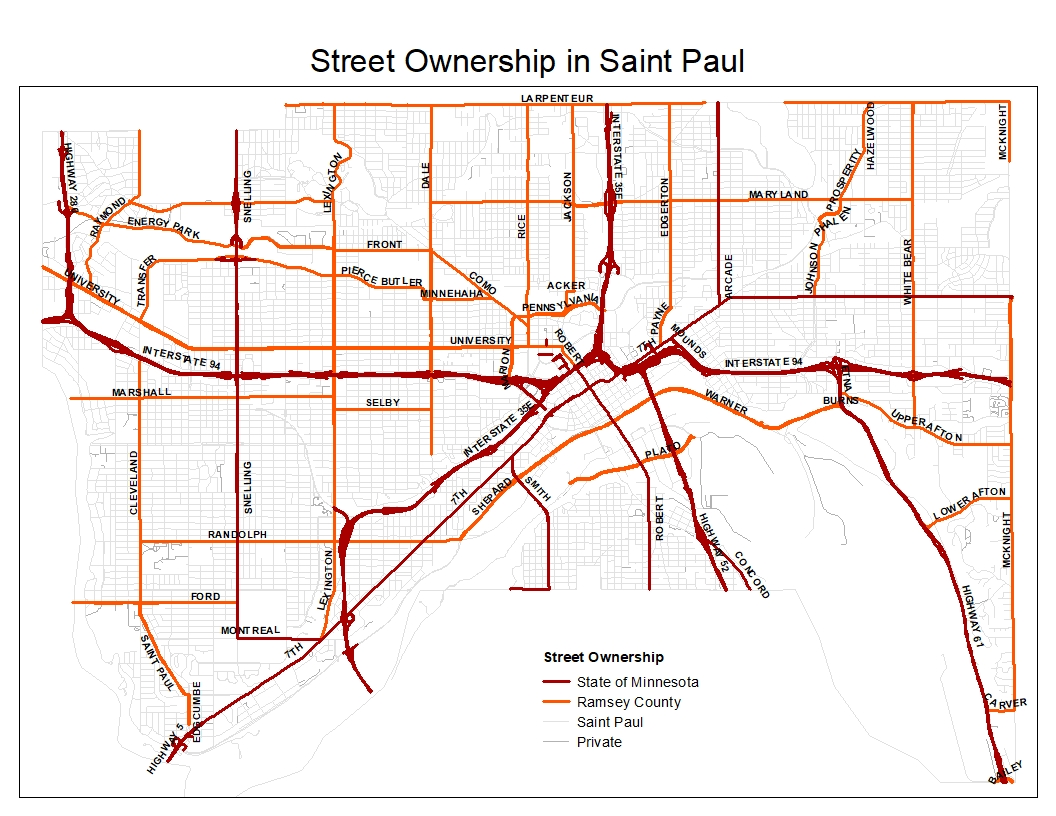 Map displaying ownership of streets in Saint Paul
