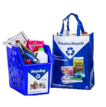 Image of a Recycling Tote and a Reusable Recycling Bag