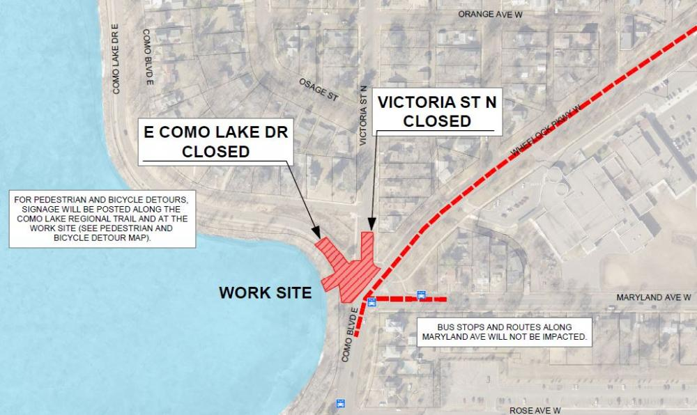Sewer Project Work Site Map - E Como Lake Dr and Victoria St Closed at Wheelock Parkway