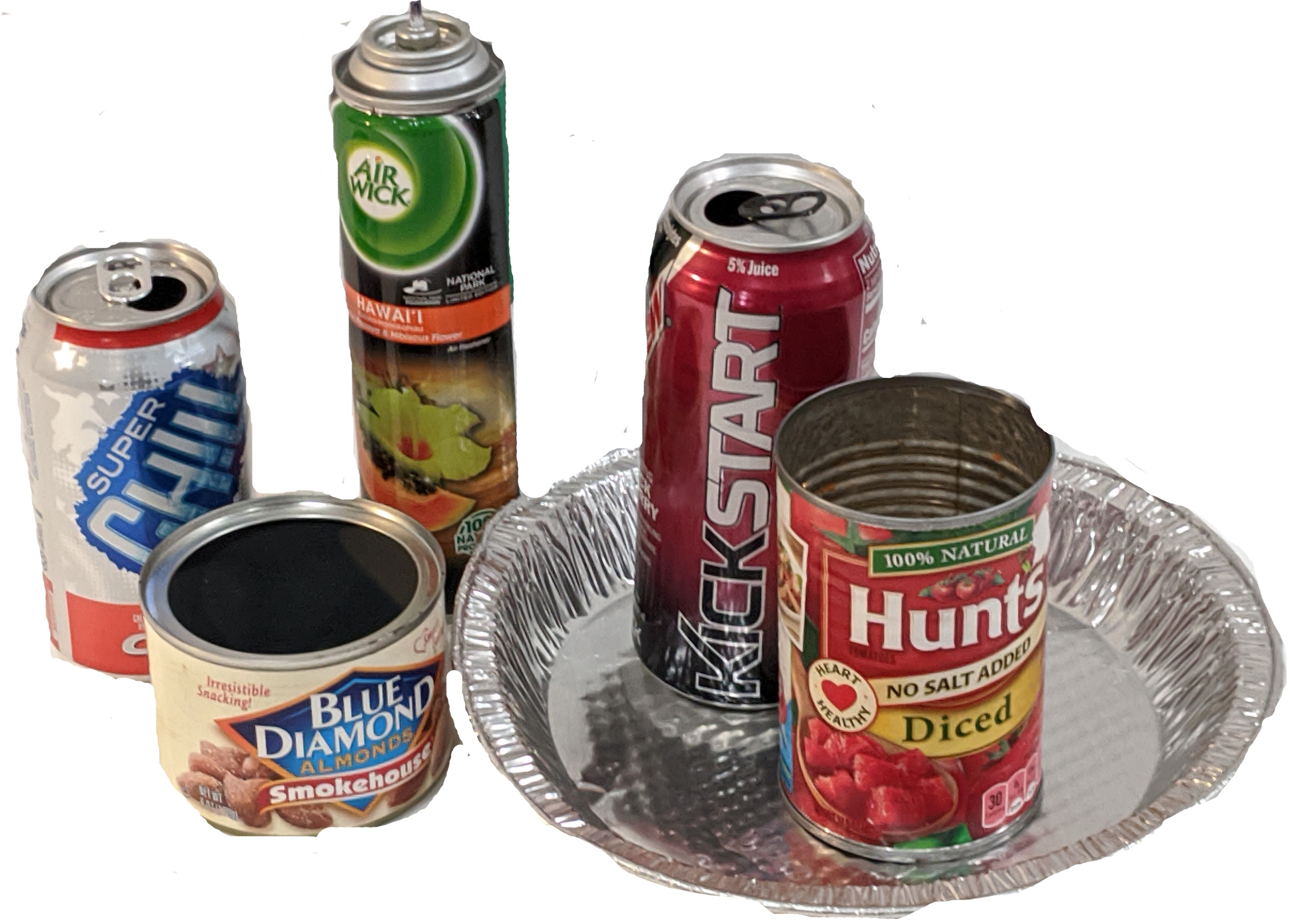 recyclables metal items (aluminum cans, steel cans, pie tin, aerosol can, decorative tin)