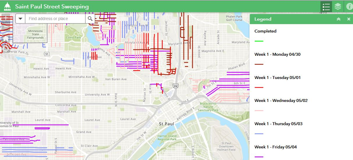 Street Sweeping interactive map showing when streets will be swept