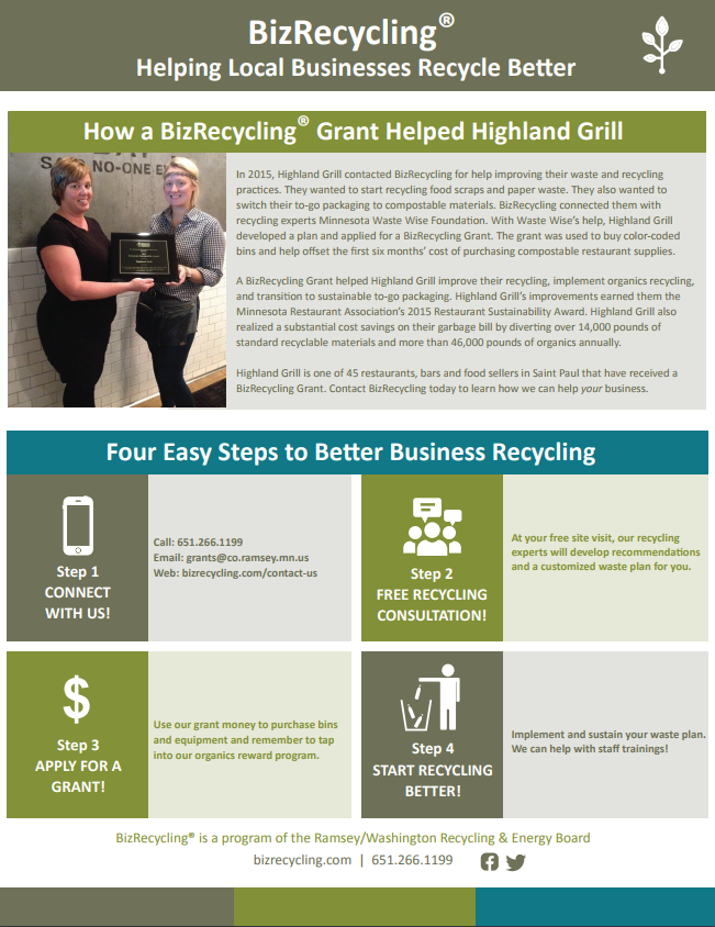How a BizRecycling Grant Helped Highland Grill AND Four Easy Steps to Better Business Recycling