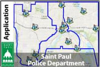 A map of the Saint Paul police stations