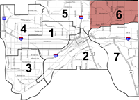 Map of Wards in Saint Paul, with Ward 6 highlighted