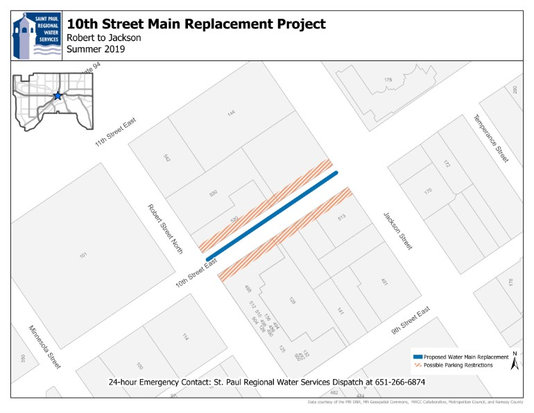 Map of the 10th Street Project Area - from Robert St to Jackson St