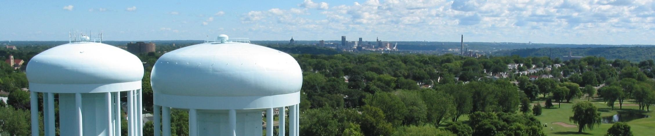 View of water towers in Saint Paul