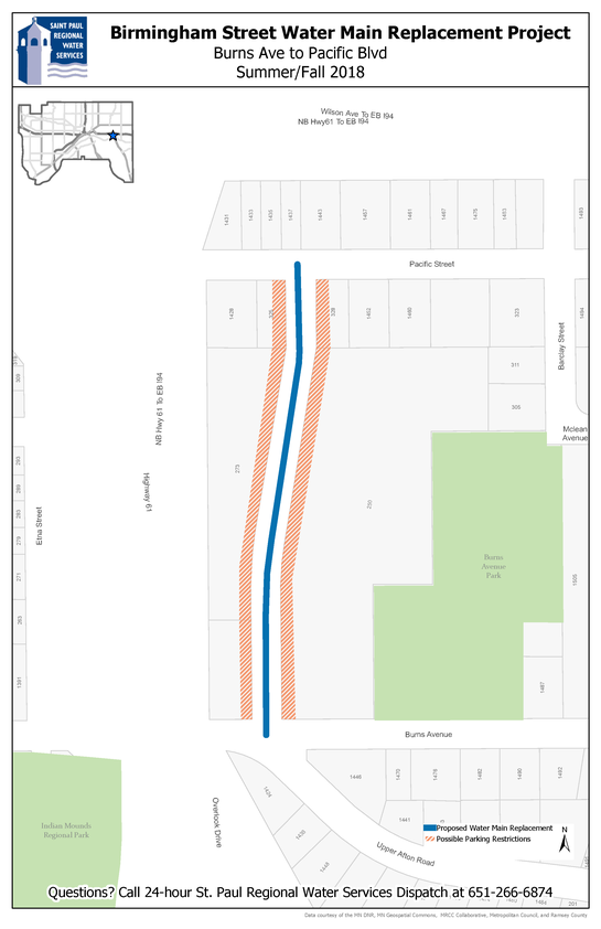Map of Birmingham Street water main replacement area between Pacific St. and Burns Ave.