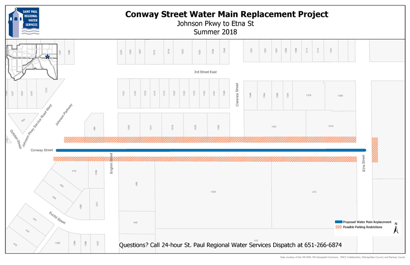 Map of Conway Street between Jessamine Ave. and Case Ave. where water main will be replaced.