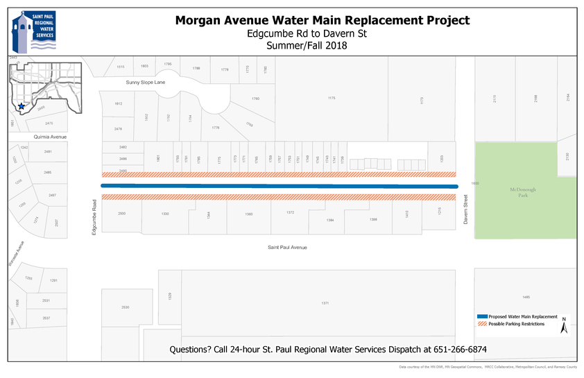 Map of Morgan Ave. water main replacement