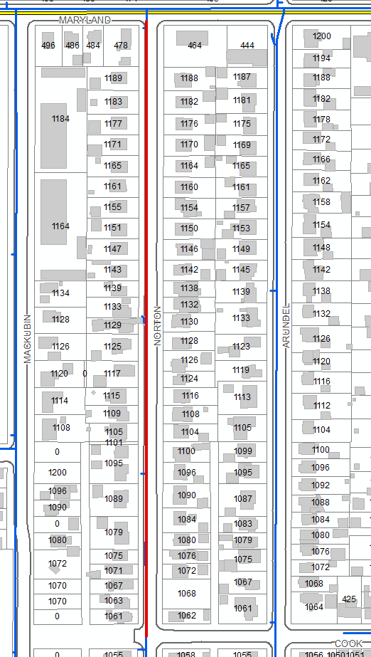 Map of Norton Ave. Main Replacement Area