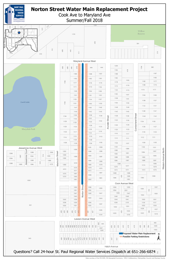 Norton Street main replacement map