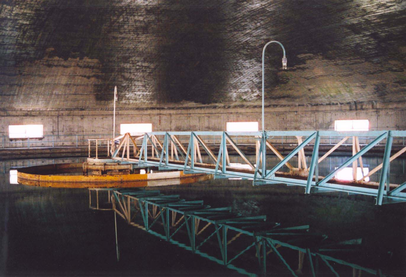 Interior of the round clarifier at Saint Paul Regional Water Services