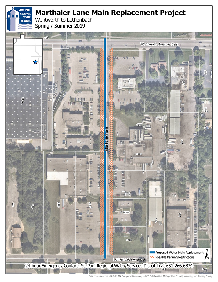Map of Marthaler Lane from Wentworth to Lothebach water main replacement work area