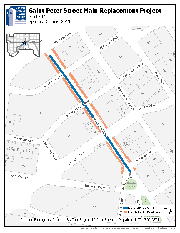 Map of St. Peter Street water replacement work between 7th Place and 11th St. West.