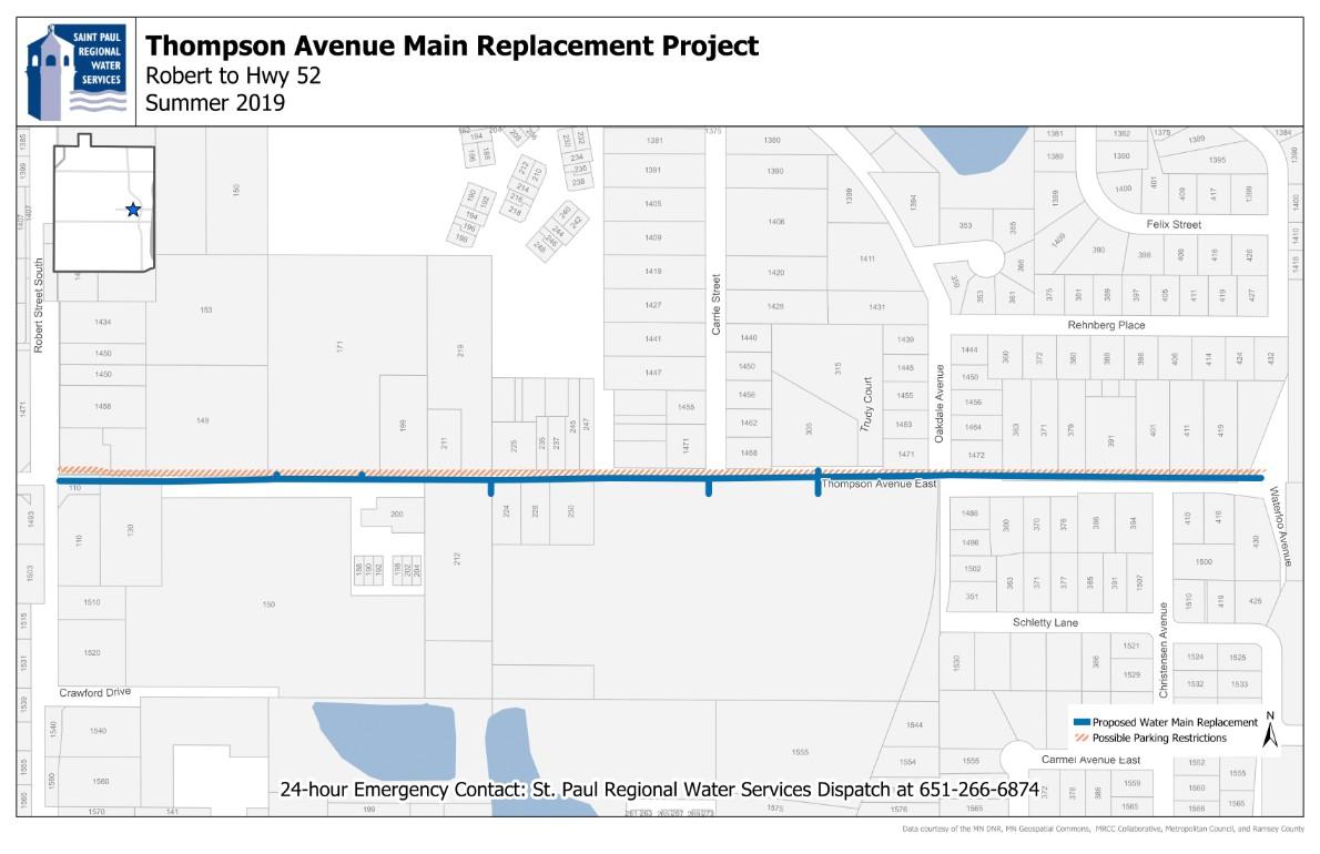 Map image of water main replacement work on Thompson
