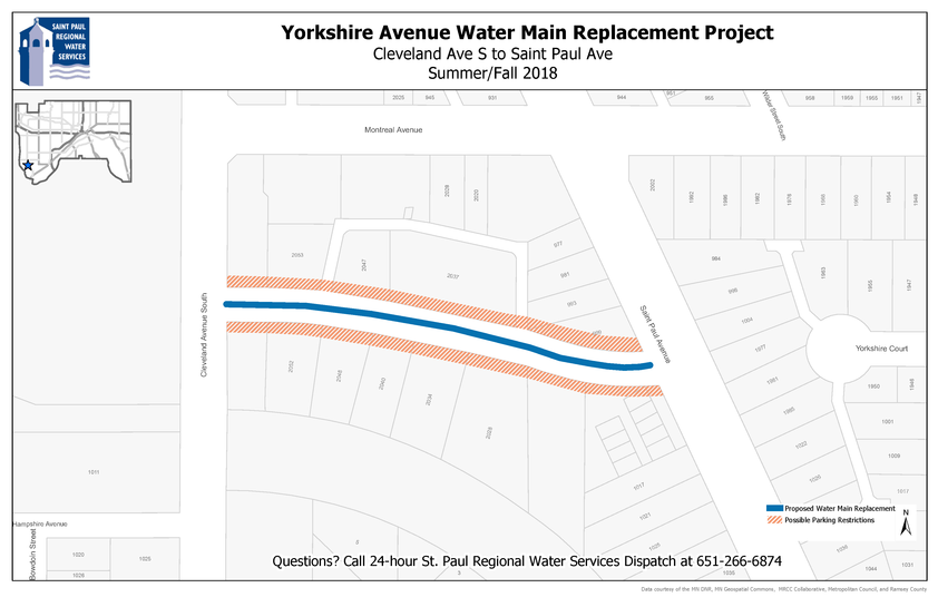Map of Yorkshire Ave. water main replacement