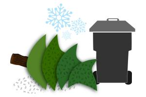 Illustration of a holiday tree next to a garbage cart.