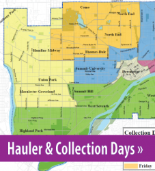 Photo of the collection day map, button link to Haulers and Collection days