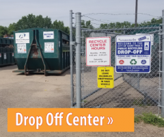 Text: Click to learn about the recycling Drop-off Center, Image: Entrance to the drop-off center site