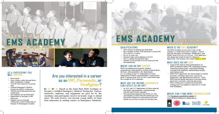 Summer 2016 EMS Academy flyer