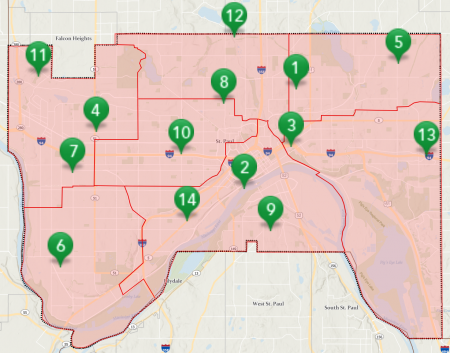 Map of drop-off locations for holiday lights recycling