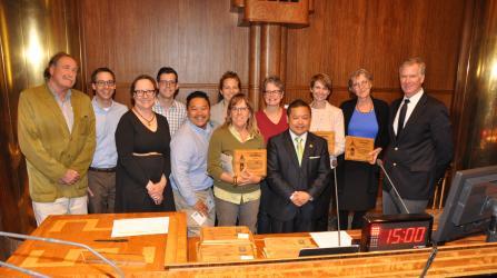 Frogtown Park and Farm Accepting a Sustainable Saint Paul Award