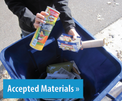 Image of materials getting placed in the cart, button link to accepted materials