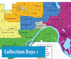 Text: Click to learn about recycling Collection Day information, Image: City of St. Paul map color-coded by collection day