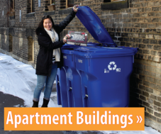 Image of a woman putting a box in the recycling; button link for apartment building recycling information.