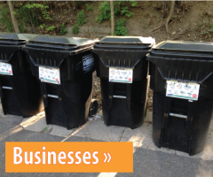 Image of black recycling carts, button link to Businesses