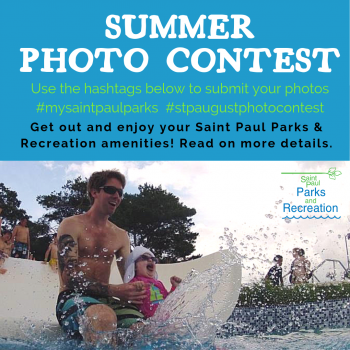 Summer Photo Contest image with title and family going down waterslide