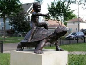 boy on turtle