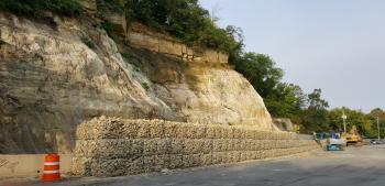 gabion wall along Wabasha Street in Saint Paul