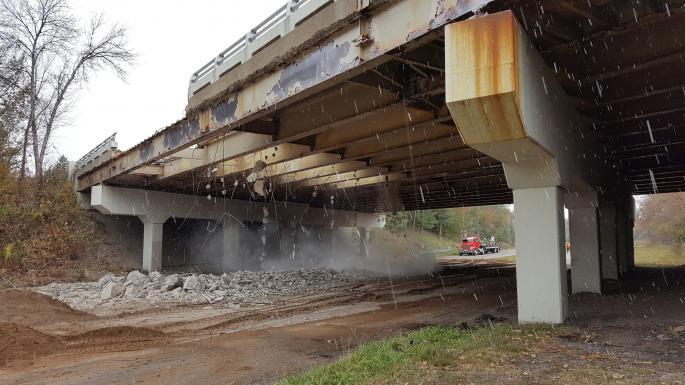 Demolition of bridge over Ayd Mill Road