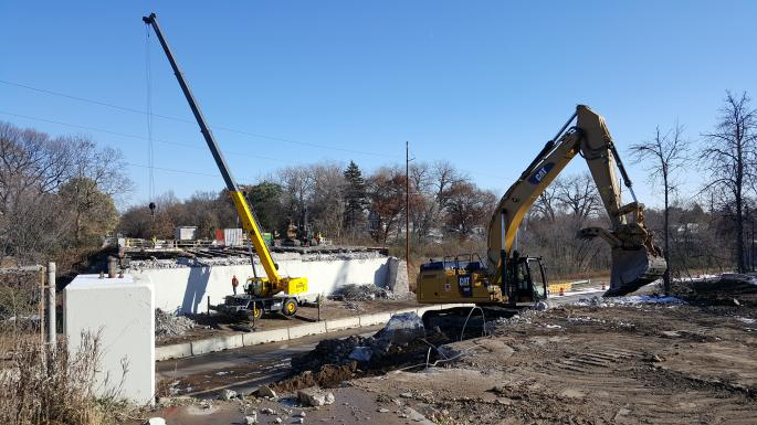 Slabs removed from span over Railroad