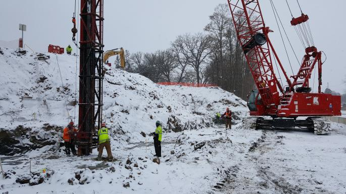 Driving pile at west abutment