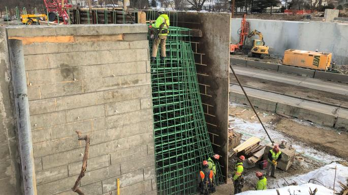 west abutment partially constructed