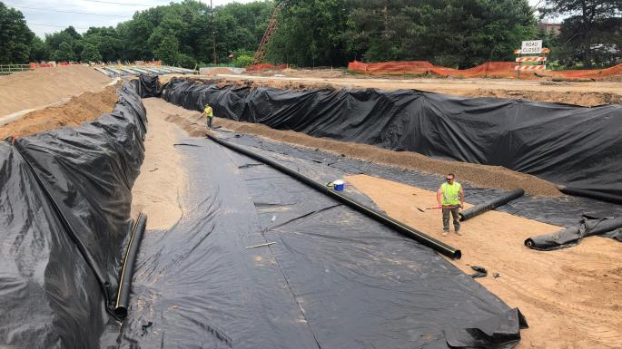 fabric at bottom of storm water basin