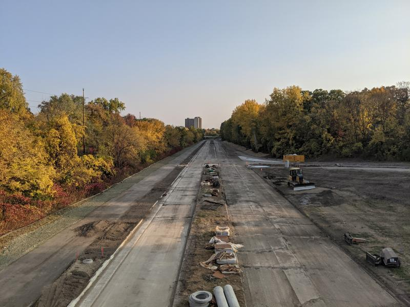 Photo showing the construction of Ayd Mill Road and the trail alongside it on 10.10.20. Photo shows view south from Grand Avenue.