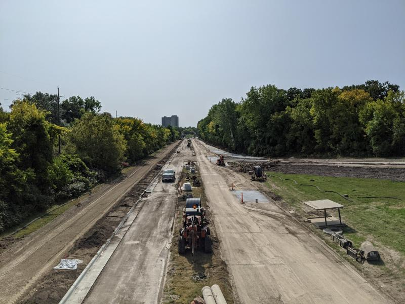 Construction photo of Ayd Mill Road from 9.18.20. Photo shows Ayd Mill Road from the southbound view taken from Grand overpass.
