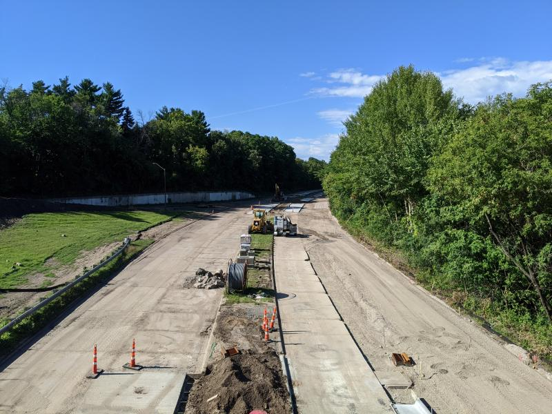 Photo showing construction on Ayd Mill Road as of 9.4.20