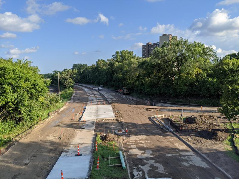 Photo of Ayd Mill Road construction facing south bound from the St Clair Avenue overpass on 8.28.20.