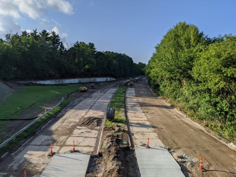 Photo of Ayd Mill Road construction facing north bound from the St Clair Avenue overpass on 8.28.20.