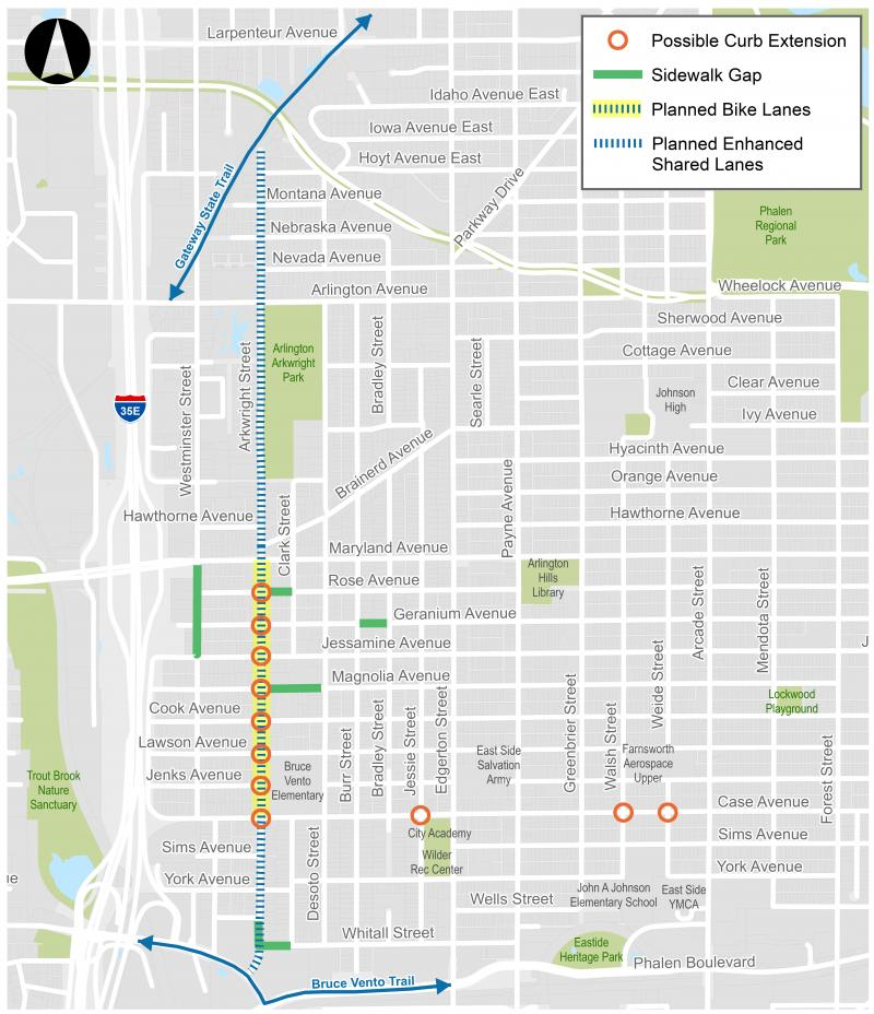 Map showing the location of a planned bikeway on Arkwright Street from the Gateway Trail to the Bruce Vento Trail and the potential locations of possible curb extensions and infill of sidewalk gaps in the area around Bruce Vento Elementary.