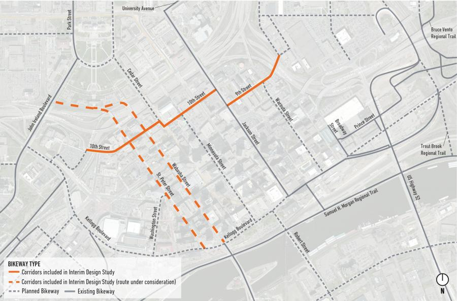 Capital City Bikeway Map highlighting 2019 Interim Design Study on 9th Street and 10th Street and St. Peter Street and Wabasha Street in downtown Saint Paul.