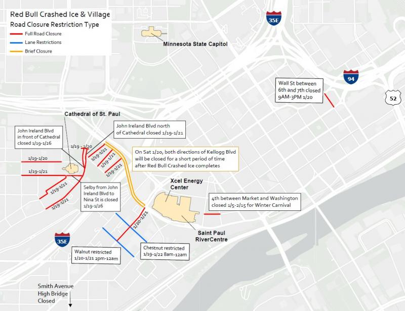 road closures around the Red Bull Crashed Ice scene.