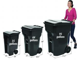 photo of different garbage cart sizes with dimensions
