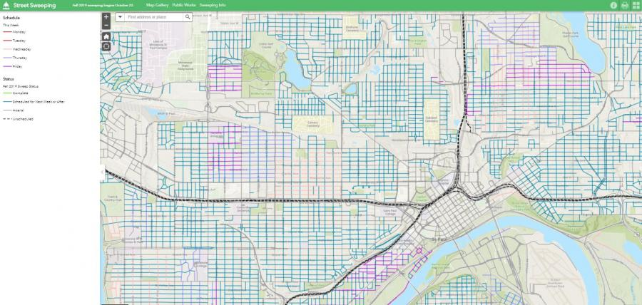 Image of 2019 Fall Sweeping Map for City of Saint Paul. Please call 651-266-9700 if you need help accessing the map.