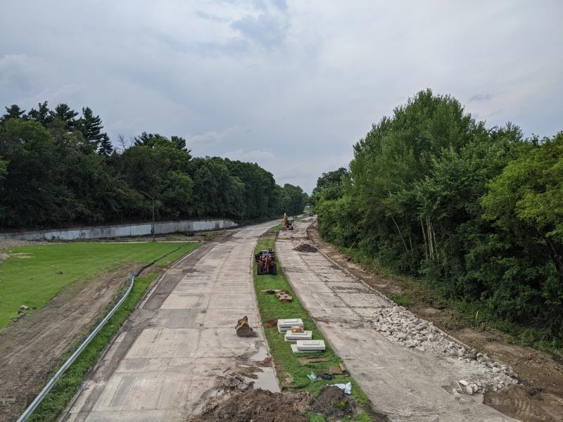 Ayd Mill Road under construction on 8.14.20. View from St. Clair overpass. Concrete road cut and rubbilized process underway.