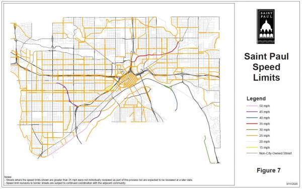 A map image of the City of Saint Paul with city streets color coded by speed limits. For accessibility support with this image, please call 651-266-6100.